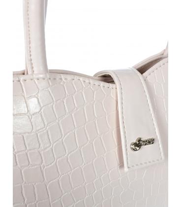Růžová obdélníková elegantní kabelka s jemným vzorem 19V021- Grosso