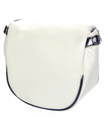 Biela crossbody kabelka s čiernym lemom 20M006