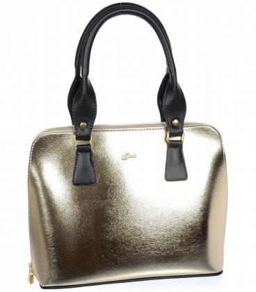 Zlatá elegantní kabelka s kroko potiskem 20V001