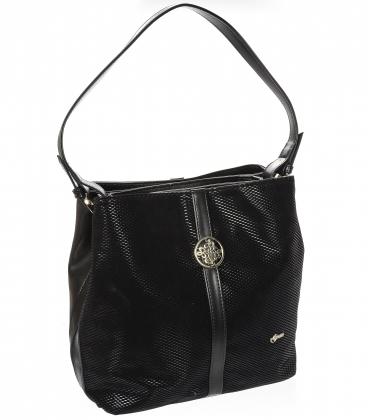 Čierna elegantná priestranná kabelka s ozdobou V18SM043BL GROSSO