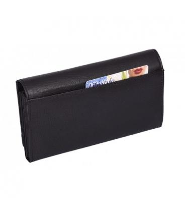 Dámska kožená čierna peňaženka AD-21-210 BLACK