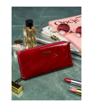 Női elegáns vörös lakkozott pénztárca 8805-JXW Red