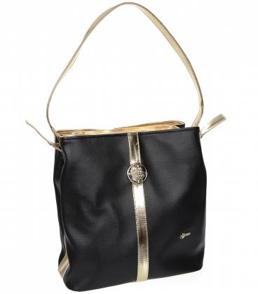 Černá matná prostorná kabelka V18SM042BL GROSSO