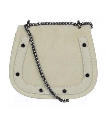 Malá béžová kožená crossbody kabelka KMPL020 OLIVIA BAG