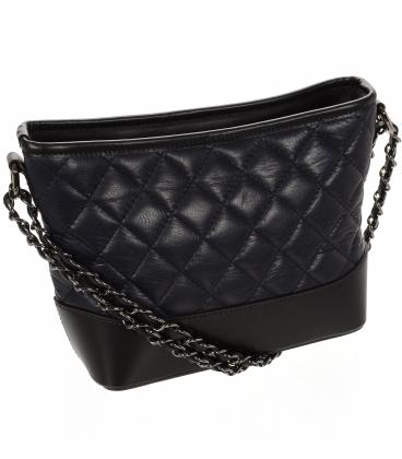 Čierna prešívaná malá kožená crossbody kabelka KM001BLCK OLIVIA BAG