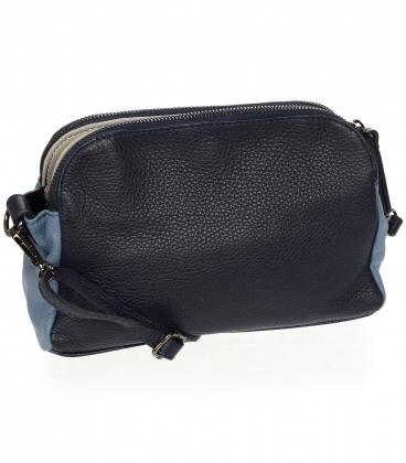 Malá modrá kožená kabelka se dvěma přihrádkami KMPL042 OLIVIA BA