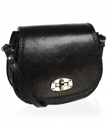 Kožená čierna crossbody kabelka so striebonými detailami KM022 OLIVIA BAG