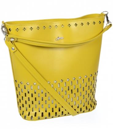 Béžová kabelka s perforací V18SM101- GROSSO