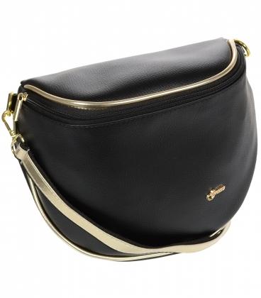 Čierna crossbody kabelka so zlatým lemom 20M006