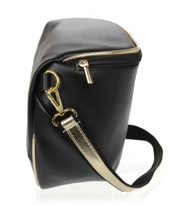 Černá crossbody kabelka se zlatým lemem 20M006