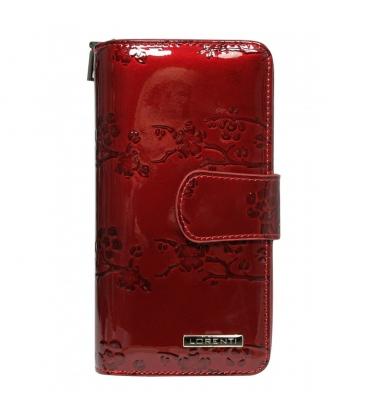 Dámska červená lakovaná peňaženka s kvetinovým vzorom 76116-TR/7001 RED