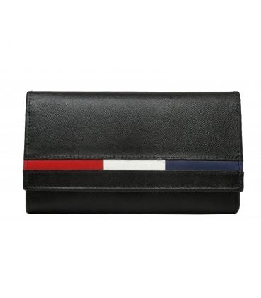 Férfi bőr fekete pénztárca, színes szegéllyel D07-NYC BLACK