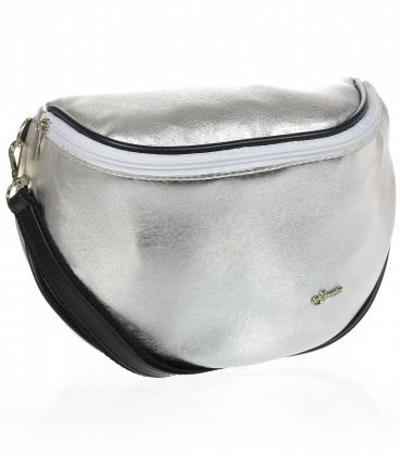 Stříbrná crossbody kabelka s černým lemem 20M006