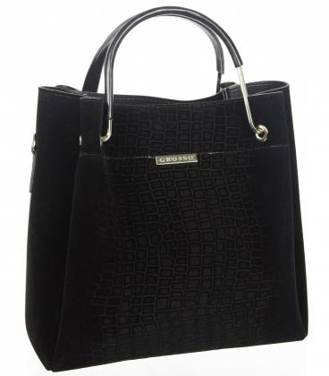 Čierna elegantná kabelka s jemným vzorom V18SM085blck- GROSSO