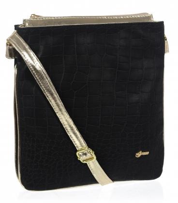 Fekete kereszttartó táska arany díszítéssel M188gld - Grosso
