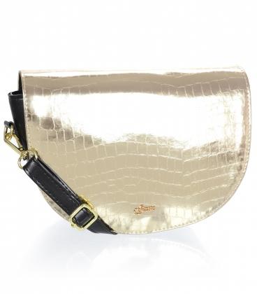 Černo zlatá malá vzorovaná kabelka 20M007gold