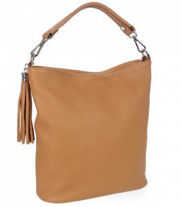Jemná hnedá kožená kabelka so strapcom V18SM400- GROSSO