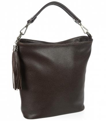 Tmavě hnědá kožená kabelka s střapcem V18SM400- GROSSO