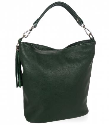 Tmavo zelená kožená kabelka so strapcom V18SM400- GROSSO
