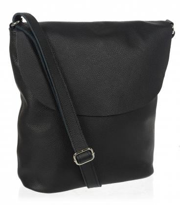 Čierna jednoduchá kožená kabelka V18SM401- GROSSO