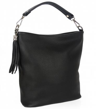 Čierna kožená kabelka so strapcom V18SM400- GROSSO