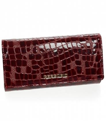 Dámská bordó lakovaná peněženka s jemným kroko vzorem GREGORIO