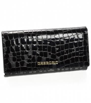 Dámska čierna lakovaná peňaženka s jemným kroko vzorom GREGORIO