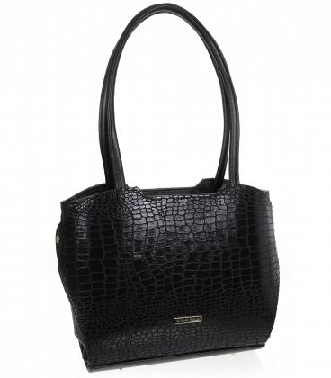 Velká černá kabelka s kroko vzorem a dlouhými ručkami 19V014blck- Grosso