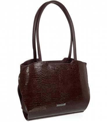 Velká hňedá kabelka s kroko vzorem a dlouhými ručkami 19V014blck- Grosso