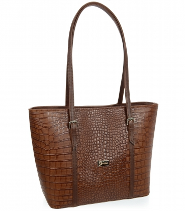 Velká hnědá shopper kabelka s kroko vzorem a dlouhými ručkami 19V015brwn- Grosso