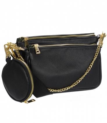 Čierna štýlová dvojkomorová crossbody kabelka so zlatými doplnkami 20M013