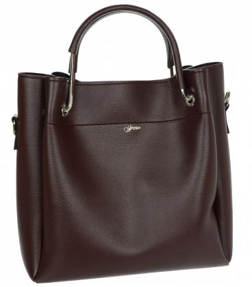 Hnedá elegantná kabelka s ozobnými rúčkami V18SM085blck- GROSSO
