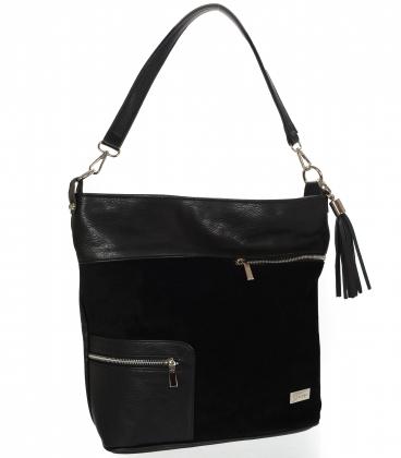 Čierna športová kabelka s ozdobnými zipsami a strapcom V18SM033- GROSSO