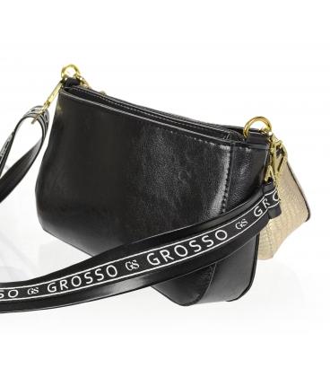 Černo zlatá tříkomorová crossbody kabelka s jemnýnm vzorem 20M003