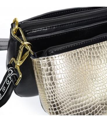 Čierno zlatá štýlová dvojkomorová crossbody kabelka s remienkom GROSSO 20M013