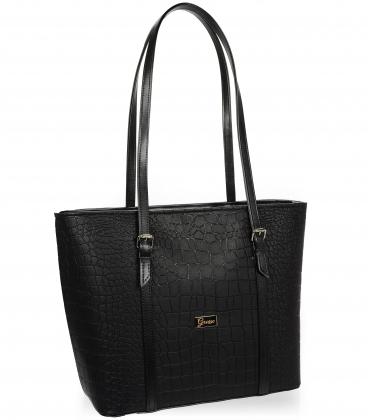 Velká černáshopper kabelka s kroko vzorem a dlouhými ručkami 19V015brwn- Grosso