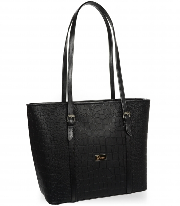 Veľká čierna shopper kabelka s kroko vzorom a dlhými rúčkami 19V015brwn- Grosso