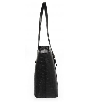 Nagy fekete shopper kézitáska kroko mintával és hosszú fogantyúkkal 19V015brwn- Grosso14blck- Grosso