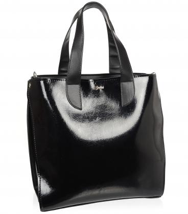 Čierna lesklá kabelka so zadným vreckom V18SM101- GROSSO