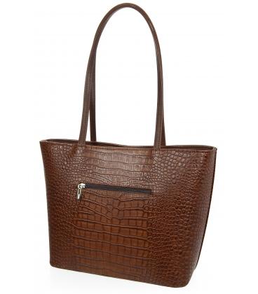 Nagy barna vásárlói kézitáska lépcsős mintával és hosszú fogantyúkkal 19V015brwn- Grosso14blck- Grosso