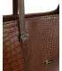 Veľká hnedá shopper kabelka s kroko vzorom a dlhými rúčkami 19V015brwn- Grosso