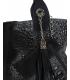 Čierna kožená kabelka s kroko vzorom a ozdobnými prvkami V18SM400- GROSSO