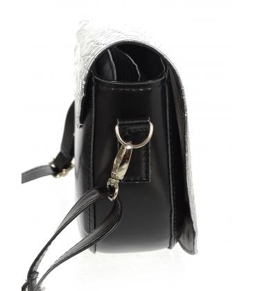 Čierno strieborná malá vzorovaná kabelka 20M007silver