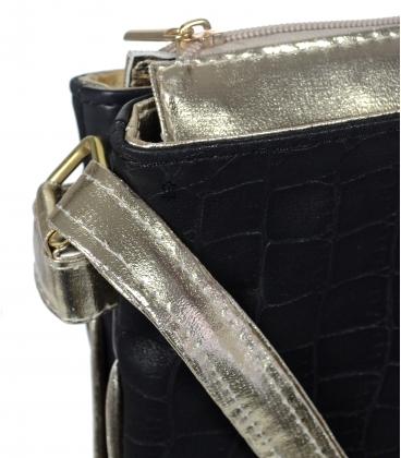 Čierna crossbody taška so zlatým lemom M188gld - Grosso