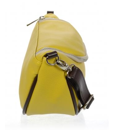 Žlutá crossbody ledvinka s hnědým lemem 20M008