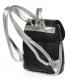 Čierny praktický ruksak so strieborným lemom a striebornými ramienkami 20B001