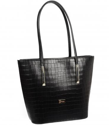 Velká černá shopper kabelka s jemným vzorem a dlouhými ručkami 19V0166black-