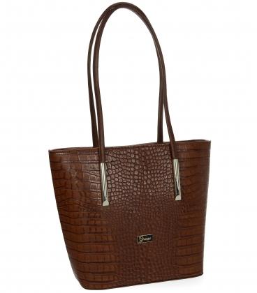 Velká hňedá shopper kabelka s jemným vzorem a dlouhými ručkami 19V0166black-