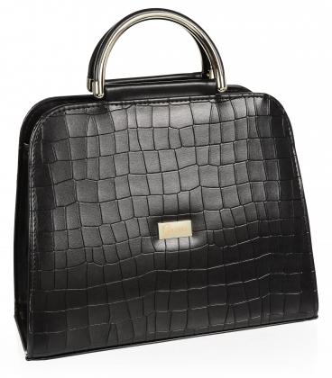 Černá elegantní čtvercová matná kabelka s jemným vzorem 19v0006black