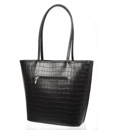 Veľká čierna shopper kabelka s jemným vzorom a dlhými rúčkami 19V0166black- Grosso